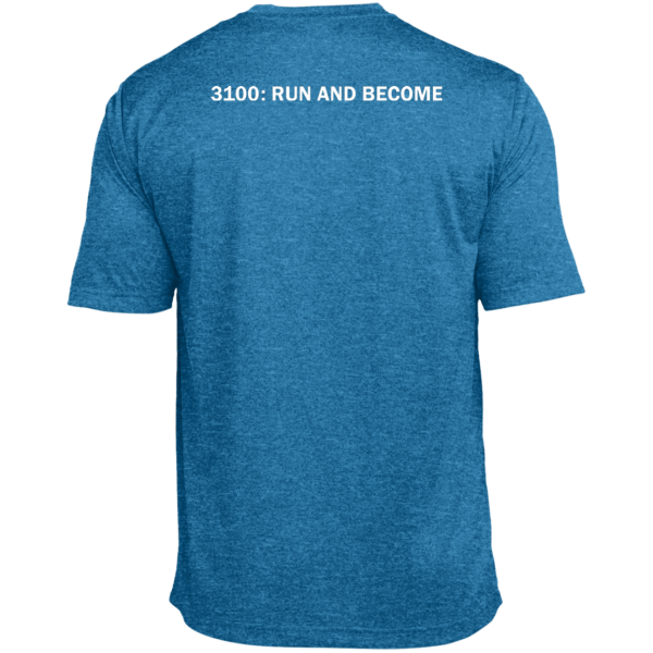 """Back view of blue short sleeve T-shirt with text: """"3100: RUN AND BECOME"""""""