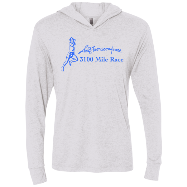 "A front view of white long sleeve T-shirt with hood, with graphic of person running and text: ""Self-Transcendence 3100 Mile Race"""