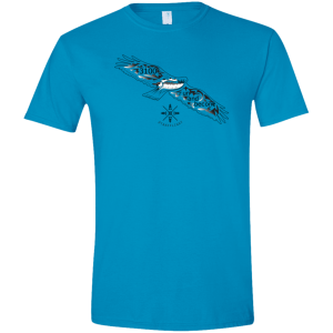 "A blue short sleeve T-shirt with a flying bird graphic and text: ""3100 run and become"""