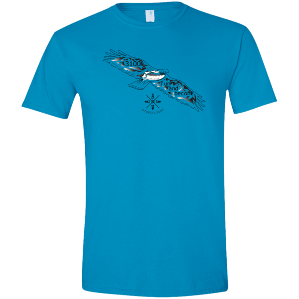 """A blue short sleeve T-shirt with a flying bird graphic and text: """"3100 run and become"""""""